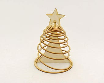 Spiral-Shaped Christmas Tree, Christmas Tree Ornaments, Xmas Tree Decoration, Hangers, Decor, Wooden Gift, Lasercut
