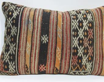 "16""x24"" Kilim Pillow Cushion Lumbar Kilim Pillow Handmade Turkish Kilim Embroidery Pillow Vegetable Dyes Turkey Kilim Bohemian Pillow 726"