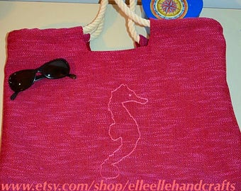 Fabric bag with embroidered seahorse