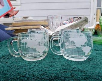 Set Of 4 Vintage Neste Nescafe Glas Globe Coffee Cup Mugs Coffee Tea