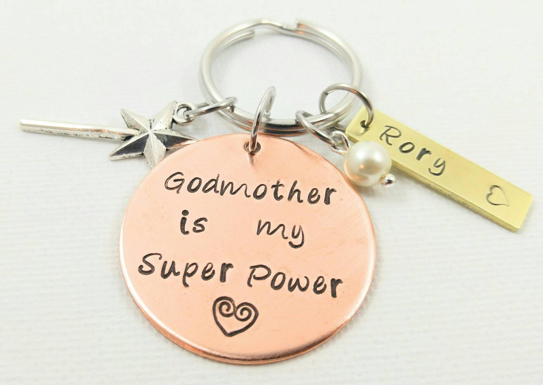 Godparent Keychain Gift For Godparents Gift For: Godmother Keychain Godmother Gift Godmother Jewelry Best