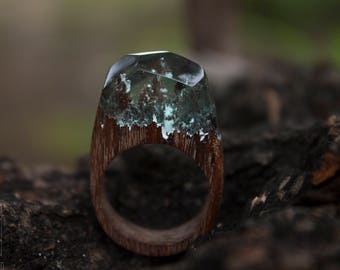 Wood ring\ epoxy wood ring\mountains ring\ snow ring\ secret\forest ring\ nature beauty ring\epoxy resin ring\ wood jewelry\facet ring