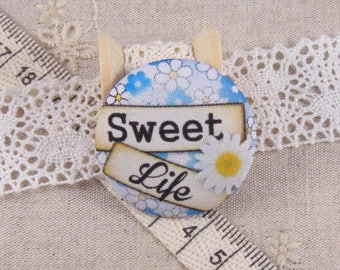 x 1 28mm button sweet life ref A14 fabric