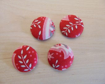 x 4 cabochons 20mm red ref TOUR8 floral fabric