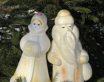 Ded Moros & Snegurochka. Russian Santa and Snow-Maiden. Soviet vintage Christmas decoration Russian New Year Toy USSR home decor Soviet Xmas