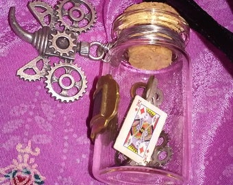 Glass bottle pendant w/embellishment, miniature cards and clock hands N-5B