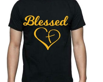 blessed, ladies t-shirt, t-shirt, blessed shirt, faith shirt, gift for her, religious gift,family, cross shirt . religious shirt