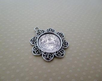 Antique round cabochon 20 mm - 9945 SCABRA20 Silver Pendant