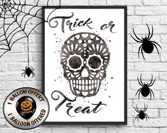 Skull illustration, phosphorescence electives, halloween poster halloween decoration, trick or treat art print