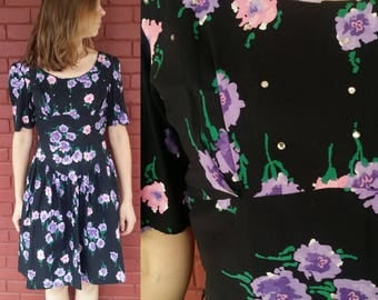 1950's Floral Dress with Rhinestone Detail / 50's Floral Party Dress / Vintage Cotton Dress / 50's Floral Cotton Dress / 1950's Party Dress