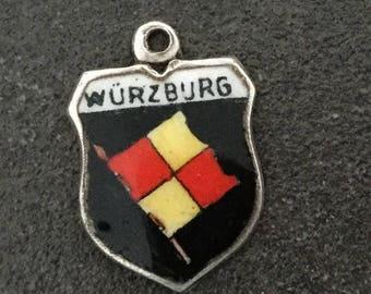 Silver Bracelet Charm Enamel Wurzburg Shield Vintage Necklace Pendant fob Germany