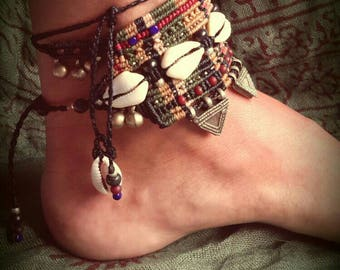 Tribal macrame anklet with silver beads and Cowry shells