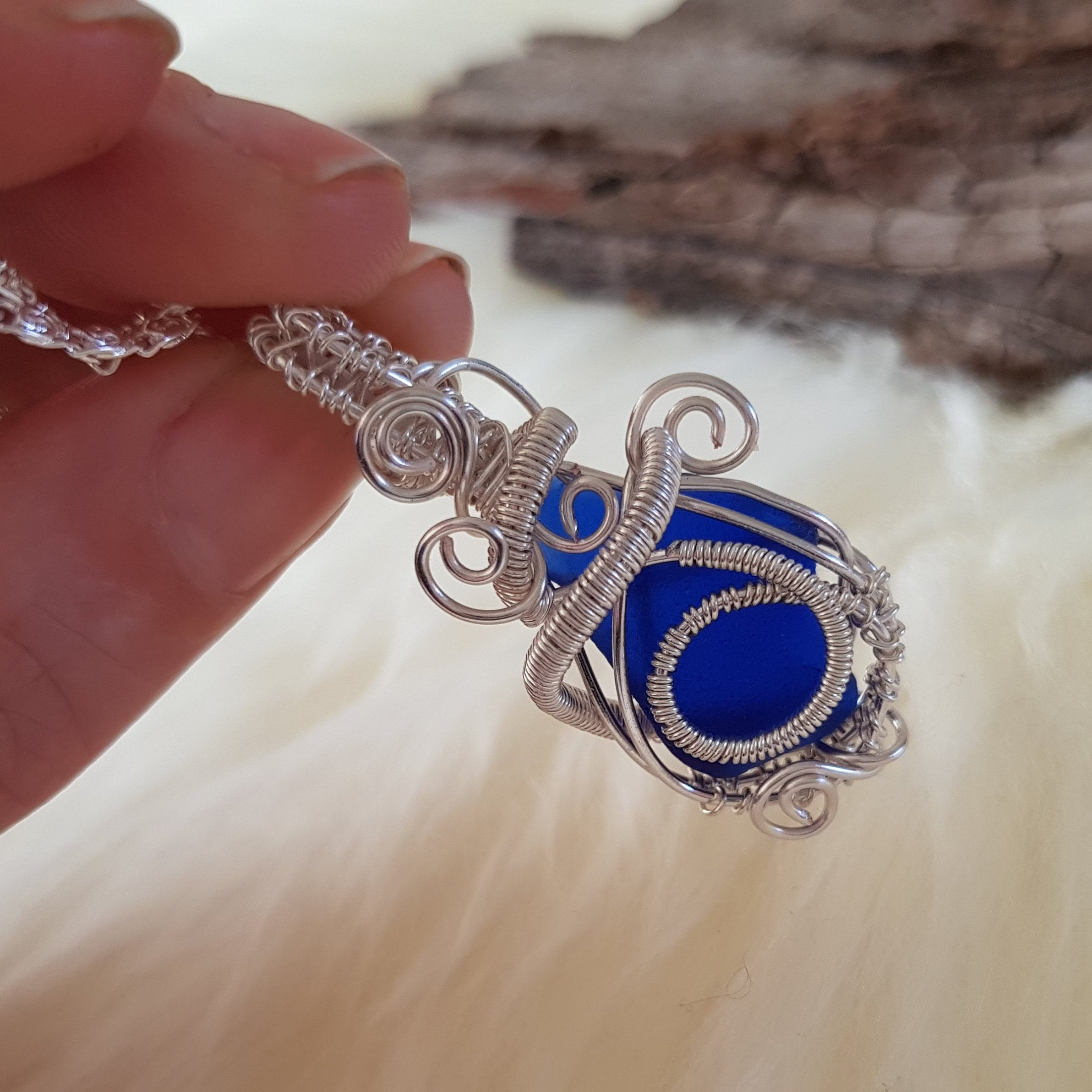 Beach glass jewellery blue sea glass necklace wire wrap request a custom order and have something made just for you solutioingenieria Images