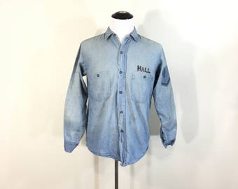 1940't vintage distressed US NAVY chambray shirt military denim shirt size M