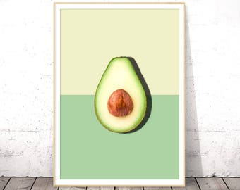 Avocado Print, Tropical Fruit Wall Art, Avocado Wall Print, Printable Avocado, Tropical Fruit Decor, Avocado Half Slice, Modern Minimalist