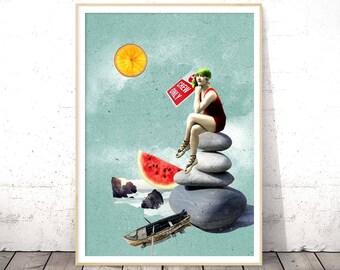 Surrealism, Dorm Wall Art, Surreal Art, Beach Wall Art, Summer Print, Nautical Decor, Instant Download Printable Art, Surreal Collage Art