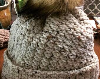 Crochet Hat with faux fur pompom