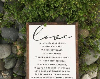 love is patient love is kind | rustic farmhouse styled sign | 1 Corinthians 13:4-8