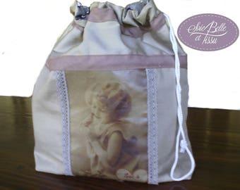Pochon sac à lingerie en coton beige uni et coton kokeshi pour femme