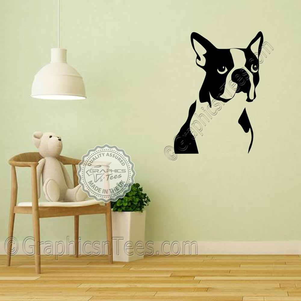 Boston Terrier Wall Sticker Puppy Dog Home Mural Wall Art Decor ...