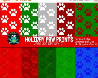 75% OFF SALE Paw Prints Digital Paper, Commercial Use, Paw Prints Scrapbook Papers, Holiday Paw Prints, Animal Paw Prints, Background - UZ63