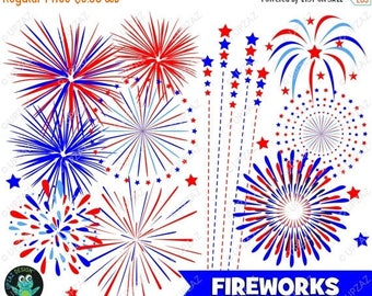 75% OFF SALE Fireworks Clipart, Independence Day, 4th of July, Patriotic Fireworks, Commercial Use, Digital Images - UZ932
