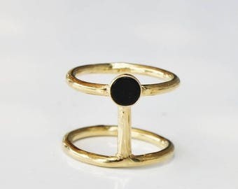 ON SALE The VALENTINES Sale- onyx ring,gold onyx ring,stacking rings, gemstone ring, black onyx ring ,gold double ring,onyx jewelry