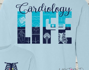 Monogrammed Cardiac Cardiology EKG Technician Cardiographic Tech Customized Shirt Personalized