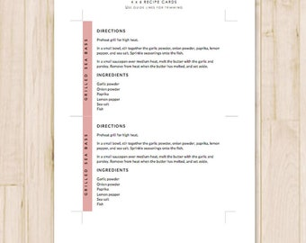 4x6 Recipe Cards - Modern Printable Recipe Cards, Card Recipe - Recipe Card Template - MS Word *Instant Download*