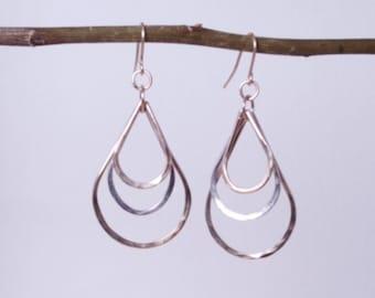 Gold and Silver Earrings - Dangle Earrings - Drop Earrings - Hammered Earrings - Handmade Earrings - Minimalist Earrings