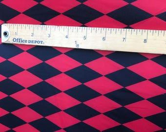 Red & Black Harlequin Print Fabric - Diamond Print Fabric Four way Stretch Spandex  Fabric By the Yard