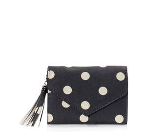Small wallet women cards, vegan pocket wallet Compact purse polka dot mini vegan purse Travel card wallet Ladies purse Teenage girl wallet