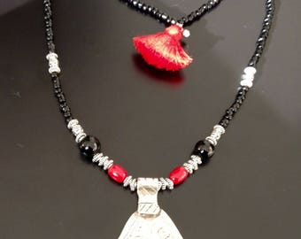 TIBETAN SILVER, CORAL NECKLACE AND HANDMADE