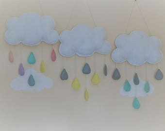 Handmade cloud raindrops wall decor baby shower gift Mint yellow grey rainbow