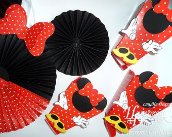 Set Large Popcorn box Minnie Mouse-Paper box-popcorn candy box-dessert bar boxes-minnie party bags -Minnie red party - Minni mouse birthday