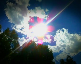 Summer Day , Sunshine , Trees , Fluffy Clouds , Blue Sky , Sun , Nature Photography , Digital Download , Walk in the Park , Skyscape