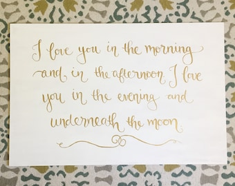 I Love You In The Morning And In The Afternoon... | Hand-painted Nursery Sign