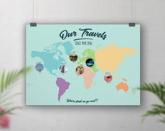 Photo map, Travel Map Photo, Photo Collage, Gift for travellers, World Travel Map, Personalised travel map, Holiday map, Vacation Photos