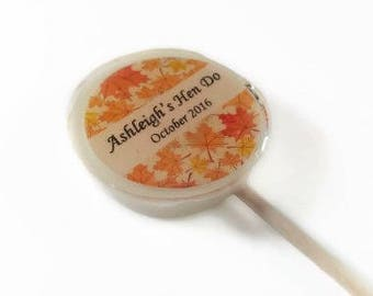 16 Autumn Wedding Favours,  Lollipops, Autumn Favours, Woodland Wedding, Lovely Lollies, Personalised Wedding Favours