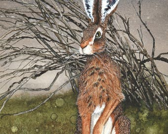 The So and so Hares #7, Matted Watercolor Hare Print