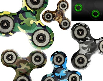 Fidget Spinner Custom Print Glow in Dark Tri Gyro Metal Ball Bearing Toy Gift for Boy / Green Blue Gray Brown Camoflauge