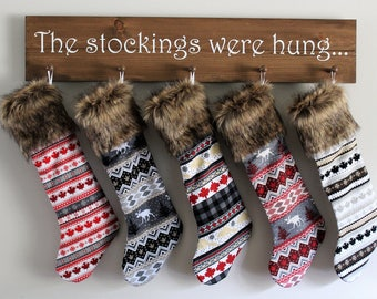 Christmas in July Sale - Nordic Christmas Stockings - Canadian Christmas Decor - Moose Stockings - Faux Fur Stockings - Canada 150 - Rustic