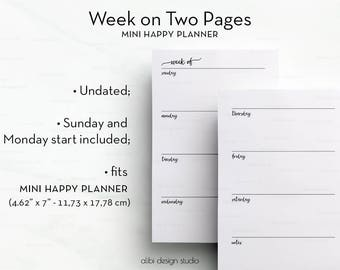Weekly Planner, MINI Happy Planner, Week on Two Pages, Undated Planner, MINI MAMBI, Undated Weekly, Weekly Printable, Happy Planner