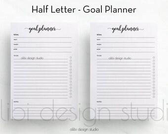 Goal Planner, Half Letter size, Goal Tracker, Printable Planner, Half Size Insert, Project Planner, Goal Setting, Productivity Planner