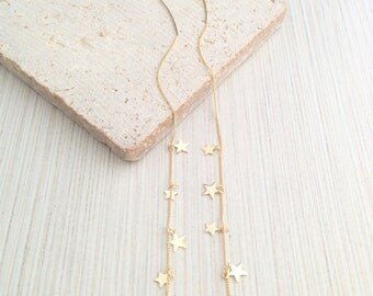 Star Linear Earring,Star Earring,Star Threader Earring,Gold Star Threader Earring,Star Linear Threader,Star Drop Threader Earring