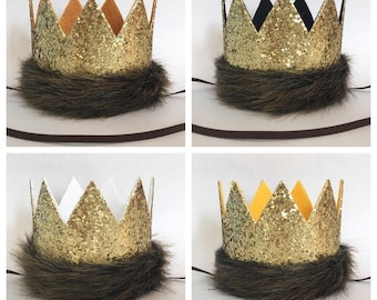Where the Wild Things Are Glitter Gold and Mustard Medium Crown Headband, King of the Jungle Crown Hat, Lion Crown, First Birthday, G