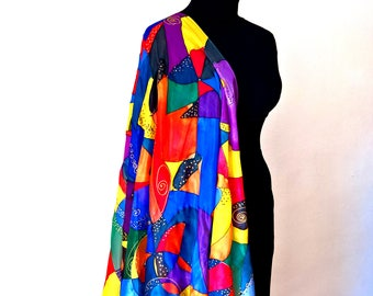 silk Scarf. with drawings of colored geometric angles. Colored shawl for lady. Gift for mom or birthday