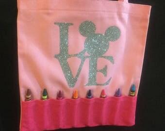 crayon tote bag childrens tote bag coloring book crayons crayon holder - Coloring Book And Crayon Holder