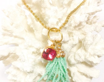 Tassel Necklace With Pink Stone