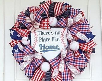 Baseball Wreath, Baseball Mesh Wreath, No Place Like Home Wreath, Baseball Ribbon Wreath, Baseball Front Door Wreath, Baseball Decor, Sports